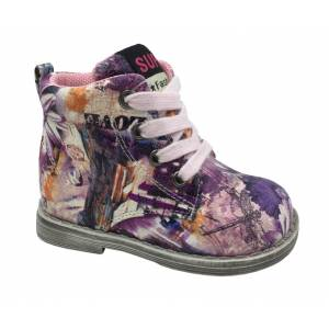 Фиолетовые ботинки B&G для девочки LD180-403