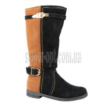 Чорно-коричневые чоботи для дівчинки B&G RZ15-227